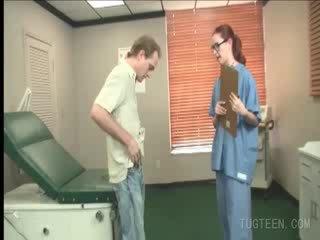 Tempting doctor rubs her patient's dick