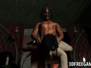 3d brunette babe getting geneukt hard door een vampier