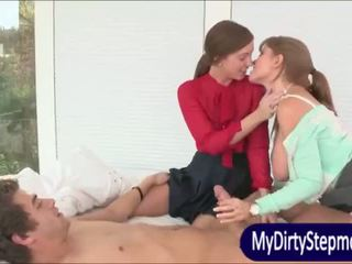 Busty mature mom Darla Crane shares cock with Maddy Oreilly