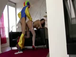 Mad clown fucking Euro sluts fuck on couch