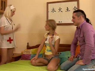Virgin having trio sesso