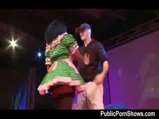 Nice sexy stripper strips and gives a hj to a horny guy from the audience