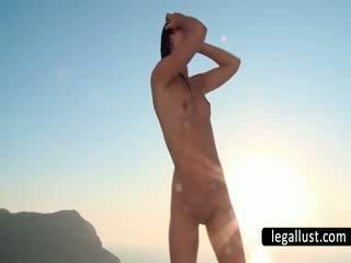 Nude dark haired touching Hairless cun...