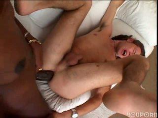 Tenåring guy cumsucker gets knullet painful av stor mørk transe