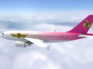 Sexy stewardess gets vers zaad aboard