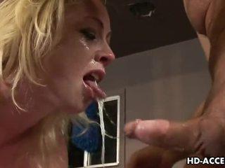 blowjob, deep throat, blonde