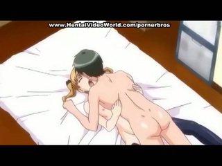 Anime pusaudze meitene markas jautrība jāšanās uz gulta