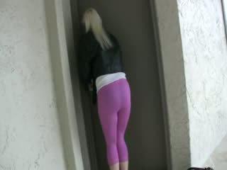 Urineren roze spandex legging