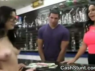 Brunette Amateur Sucking Dick During Money Talks Stunt