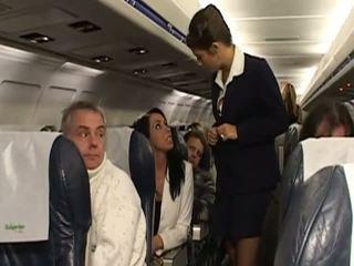 Ťažký sex s veľmi príťažlivé stewardesses
