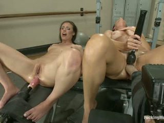 Milf Cougar Stalks A Hottie Yoga Girl They Fuck Machines In The Gym
