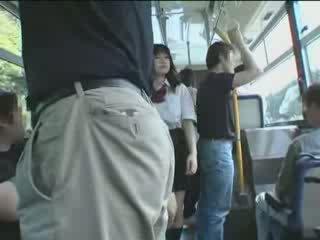 japonais, écolière, bus