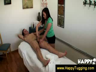 Asian masseuse uses her complete body
