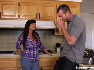 Busty Mom (Lisa Ann) and son's friend Fuked Hard in the kitchen - PussySpace.com