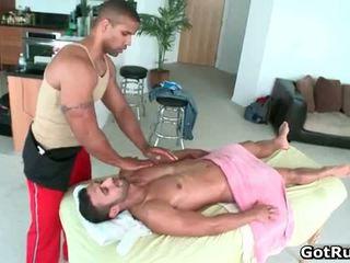 Muscled gay stud Alex massage guy