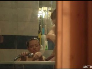 Couple is washing after wild banging right before the camera