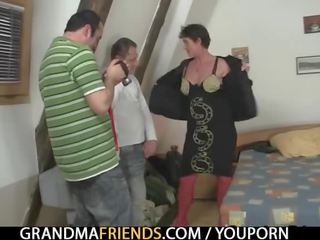 Hard 3some With Naughty Granny