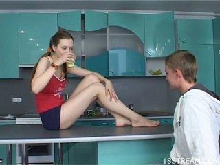 Sex appeal teen chick kneels