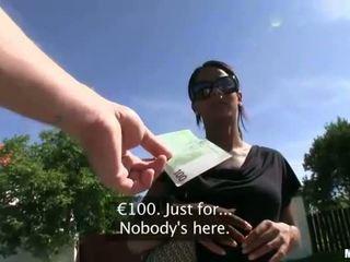 Euro honey rides cock in public for cash