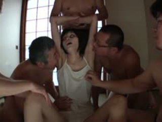 Rail Thin Spooky Japanese Ghost Group Fondling In HD