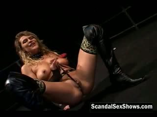 Hot horny dildoing her wet pussy on st...