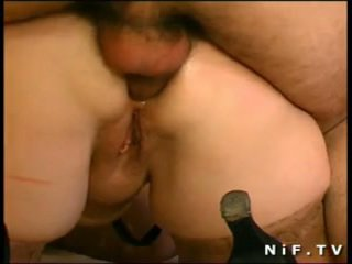 French BBW sodomized in 3way with Papy...