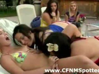brunette, group sex, lick