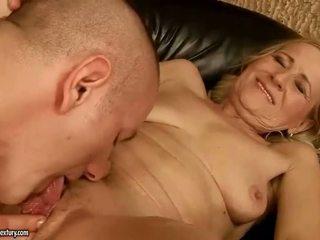 Sensuous grandmother dicklicking at making love youthful snake