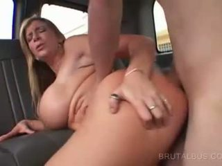 Chesty blonde fucked on back seat and facialized