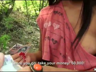 Czech slut fucked in the woods for cash