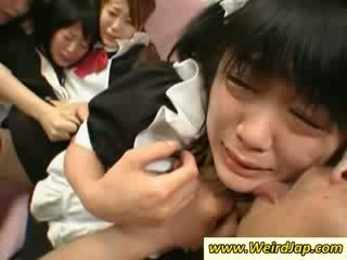 Hot asian maids gets fucked on the couch