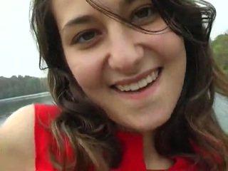 brunette, schattig, wit
