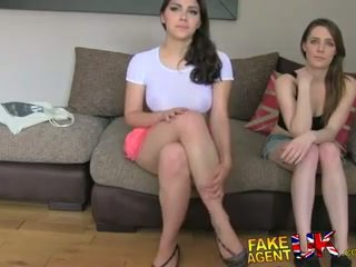 FakeAgentUK Two girls happy to fuck him for a porn job lezzing up and anal