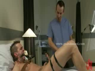 Sex slave patient bound hard in chains is forced to fuck in extreme fetish bondage