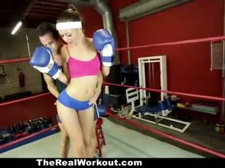 TheRealWorkout - Horny Brunette Fucked in The Gym