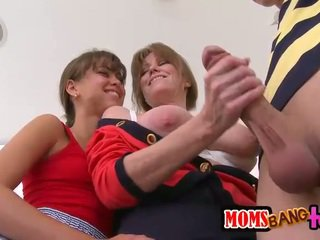 Teen and stepmom share a good hard dick
