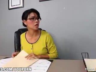 Dana Vespoli inspects Keiran Lee's cock for insurance purposes