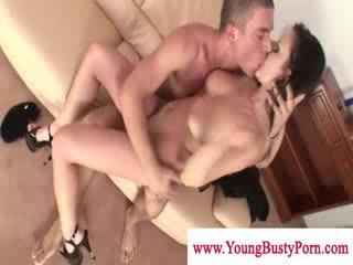 Sexy bigtit dark haired tittyfuckingand sucking dong