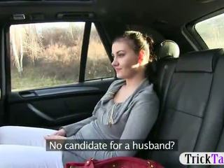 Horny gal passenger pounded in the taxi recorded on camera