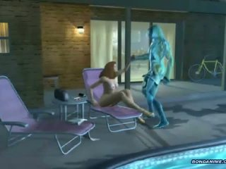 Een 3d hottie bij de zwembad gets banged door een water cre