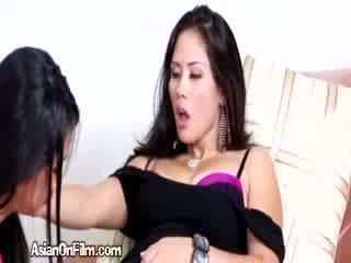Horny Asian Lesbian Fingers Sexy Girlfriend In Bikini Thong