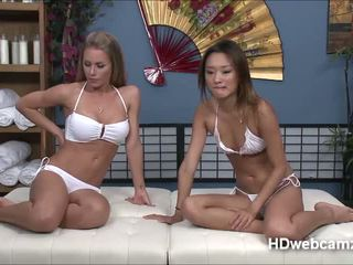 Nicole with friend plays with toys while on cam show to earn cash