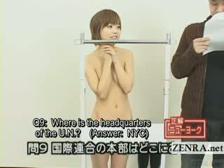 Subtitled जपानीस quiz प्रदर्शन साथ न्यूडिस्ट जापान स्टूडेंट