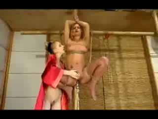 Girl Hanging In Bondage Pussy Fucked With Fucksaw Tortured With Electricity Clit Stimulated With Vibrator By Mistress