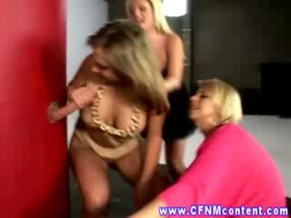 CFNM gloryhole sluts love their cocks sticking out the wall