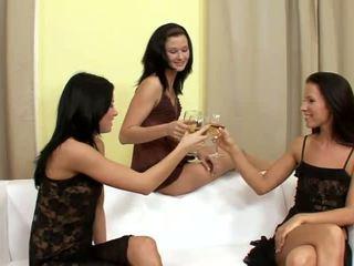 Suzi 和 jane 和 lulu superb 女同志 喝酒 和 脱衣 上 该 榻