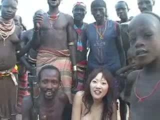 japanisch, mädchen, afrikaner