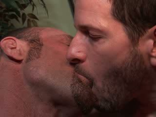 Divorced str8 dude's first, very hot kissing session with his homo Muscled hung gym work out buddy.