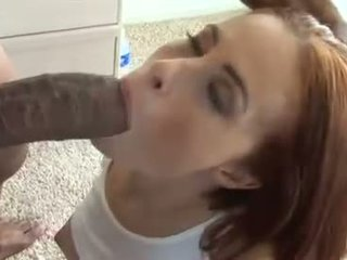 Sizzling hot Ginger Lea gets her mouth whacked by a monstrous meatpole