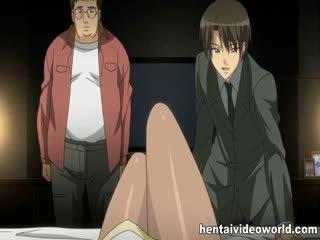 Pretty busty anime babe banged